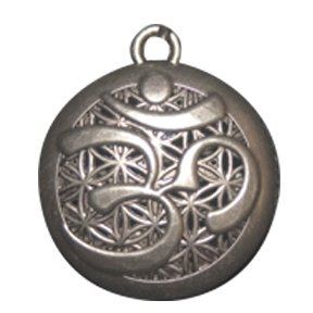 Om Aum Aromatherapy Necklace Locket Pendant Alloy Pewter Color on 24 in Black Wax Cord with 10 Refill Pads