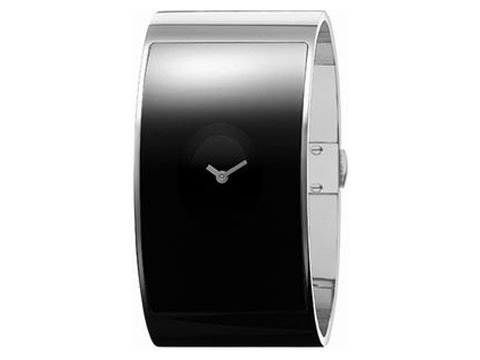 Calvin Klein Quartz, Silver Tone Cuff Bracelet with Black Flash Dial - Women's Watch K3423104