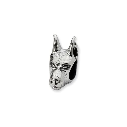 Reflections(tm) Sterling Silver Doberman Pinscher Head Bead / Charm ...