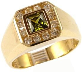 14K Yellow Gold, Fancy Ring For Men Guy Gent With Brilliant Lab Created Gems Canary Green Center 5.5Mm 1.0Ct