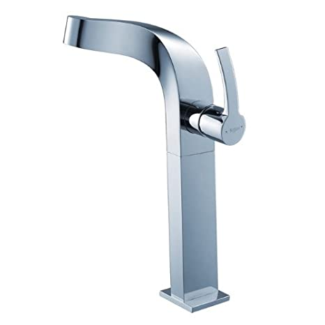 Kraus KEF-15100-PU-10CH Typhon Single Lever Vessel Bathroom Faucet with Pop Up Drain Chrome