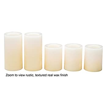 Candle Impressions Ombre Design Pillar Real Wax Flameless Candles w/Auto Timer Feature - Set of 5 - Buttercream