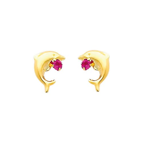 14K Yellow Gold Dolphin Red CZ Stud with Screw-back for Baby & Children