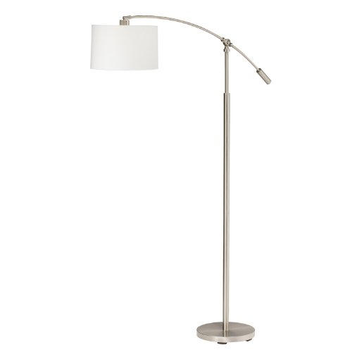 Kichler Lighting 74256 Cantilever 60.5-Inch to 69.5-Inch Portable Floor Lamp, Brushed Nickel with White Linen Hard Back Shade