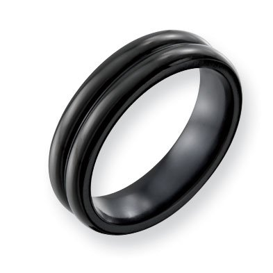 Titanium Polished Black Domed 6mm Band Ring - Size 10.5 - JewelryWeb