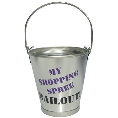 4.25 Inch Shopping Spree Bailout Aluminum Silver Bucket Piggy Bank - 1