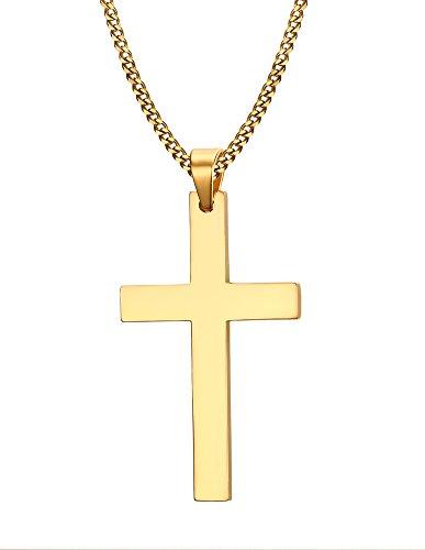 Vnox Pendente Simple Black Cross collana per le donne e gli uomini d'oro, libero 60 centimetri catena cubana