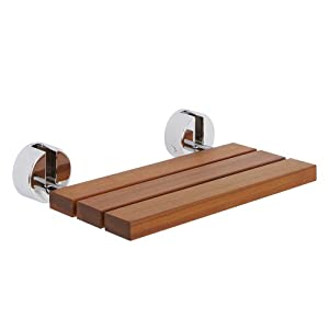 Bengal Teak Wooden Folding Shower Seat With Chrome Hinges