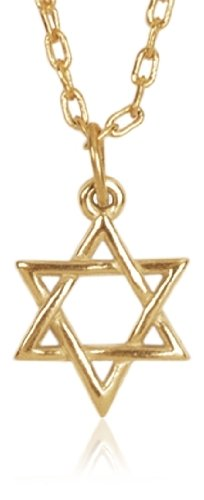 """Gold Plated Sculpted Star of David Pendant, 20"""""""