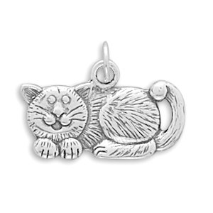 Oxidized Sterling Silver Cat Charm