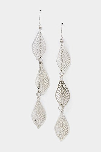 Trendy Fashion Jewelry Triple Leaf Dangle Earring By Fashion Destination | (Rhodium)