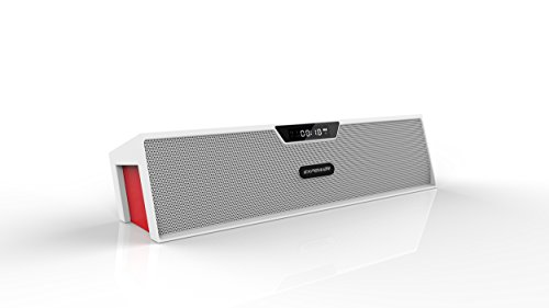 Expower Bookshelf Furnishings / Computer Desk / Home Wireless Bluetooth Speaker (Microphone, Fm Radio, Alarm Clock, Aux Input) (White+Red)