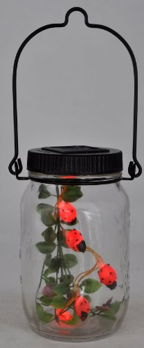 Ladybug Solar Power Lights Led, Five in the Glass Jar, Decorative, Hanger (5 Inch Glass Jar compare prices)