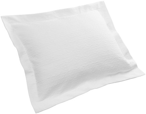 Pinzon Avalon Matelasse 100-Percent Cotton Jacquard 26-By-26-Inch European Sham, White front-931716