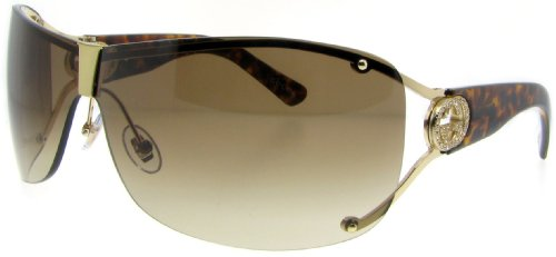 Gucci Women's 2807/S Wrap Sunglasses,Shiny Gold Frame/Brown & Grey Gradient Lens,One Size