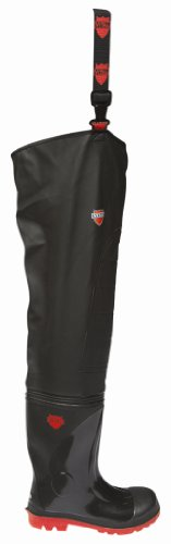 VITAL VW162R Stream Black PVC Thigh Waders with PVC Wellington Boots Steel Toe Cap and Midsole Protection