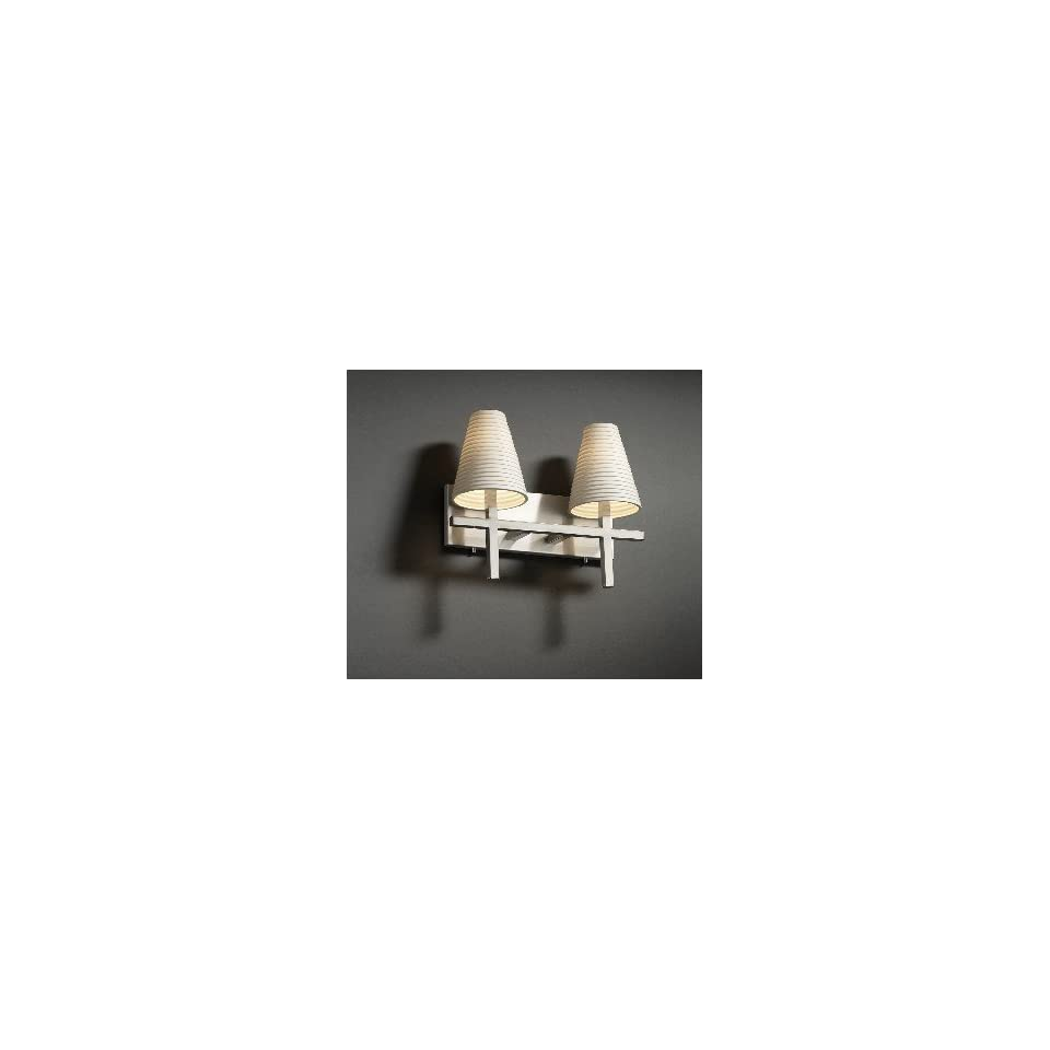 Justice Design Group POR 8952 LEAF Leaves Cone Limoges Traditional / Classic 2 Light 17 Wide Bathro