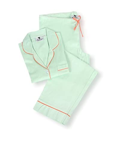 Malabar Bay Sateen Pajama Set, Green/Coral, Medium