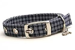 Designer Dog Collar ~ Navy Plaid ~ by Dixie Digs
