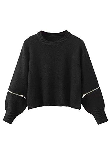 Joeoy Women's Black Zippered Long Sleeve Cropped Knit Sweater Jumper-ONESIZE