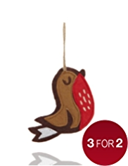Crimbleberry Wood Eric the Robin Felt Christmas Tree Decoration