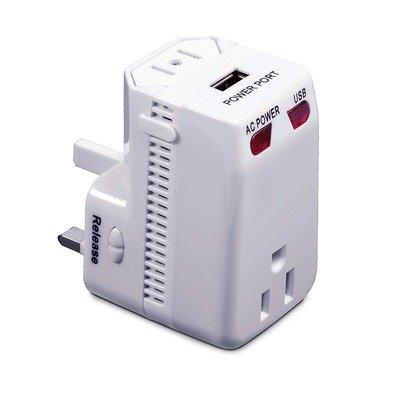 "International Plug Adapter With Usb (White) (5""H X 3""W X 5""D)"