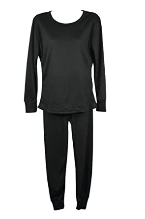 Women's 100% Cotton Long Sleeve Thermal Sets (TM2120) Black L