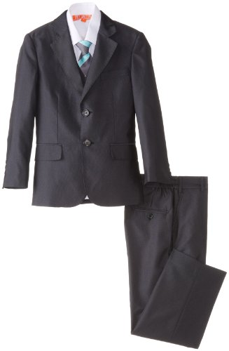 Joey Couture Little Boys' Little 5 Piece Charcoal Glitter Suit, Charcoal, 4 front-1027135