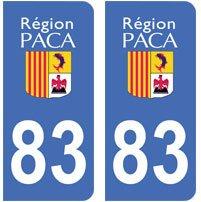 2-autocollants-83-Var-PACA-plaque-immatriculation-dpartement-auto-83-angles-arrondis