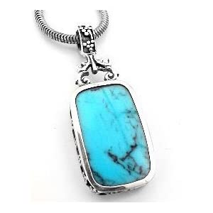 turquoise blue lapis reversible sterling silver pendant
