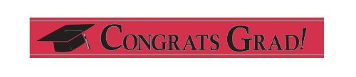 Creative Converting Paper Art Foil Banner, 24 by 5-Inch, Congrats Grad, Red