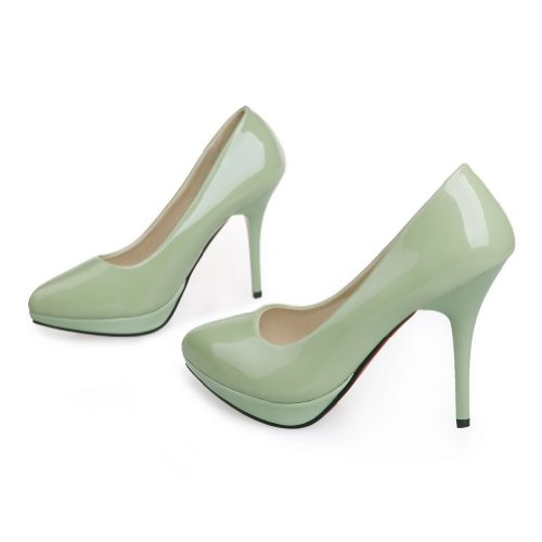MayMeenth Womens Closed Pointed Toe High Heel Spikes Stilettos Platform PU Patent Leather Solid Pumps