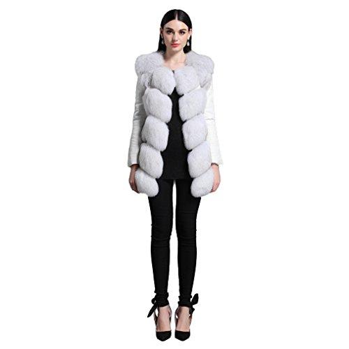 Fur Story FS161156 Donne Reale Lungo Cappotto di Pelliccia di Fox Con Maniche in Pelle di Pecora Staccabile Natural volpe azzurra 44