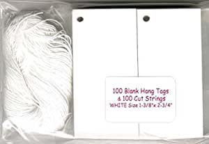 100 Blank White Hang Tags & 100 Cut Strings for Crafts & Gifts. Personalize & Price your merchandise.