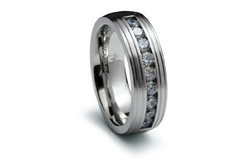Stainless Steel Ring Flat Center with CZ Satin High Polish Eternity Band