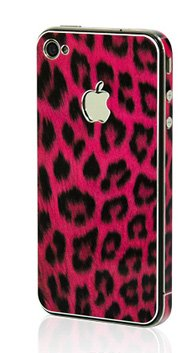 Apple Iphone 4/4S Aluminium Protective Sticker Skin Full Body Matte (Anti Finger Anti Glare Screen Protector Guard Film - 2 Pack) For Luxury Looks Diamond Cutting (Leopard Pink)