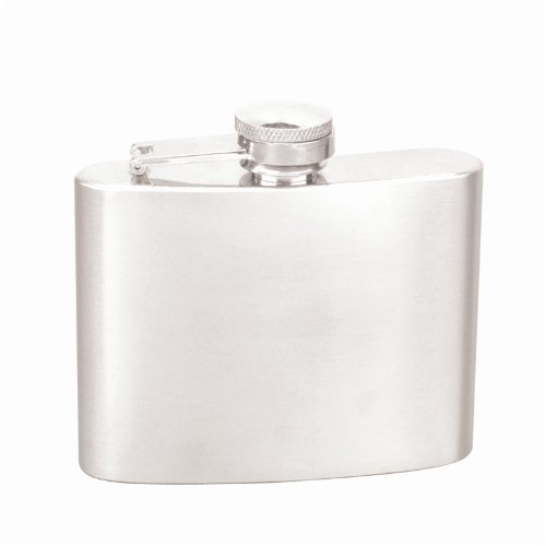 Quality Stainless Steel 4oz Hip Flask With Captive Top, Great Gift Idea