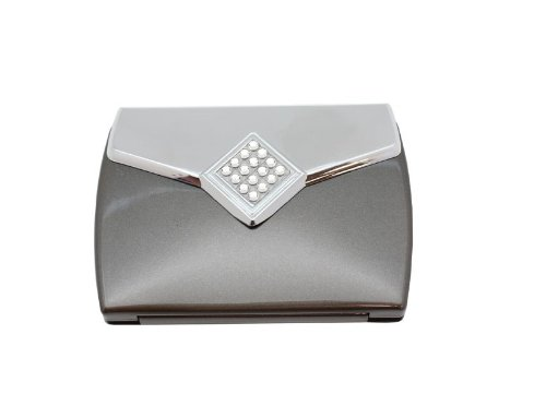 Danielle Swarovski Crystals Diamond Envelope With 5X Magnification Compact Make-Up Mirror, Silver