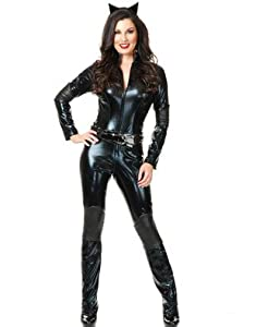 Womens Sexy Wet Look PVC Black Catsuit Too Fetish Dominatrix Costume