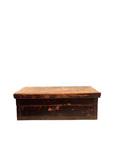 Asian Loft Late 19th Century Leather Chest, Burgundy/Brass