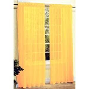 Hlc Me Bright Yellow Sheer Panel Window Treatment Curtains