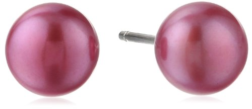 Sterling Silver 6.5-7mm Freshwater Cultured Colored Button Pearl Studs