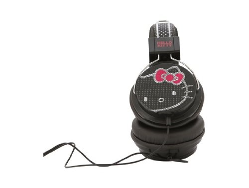Hello Kitty 35309 Bling Print Headphone, Black