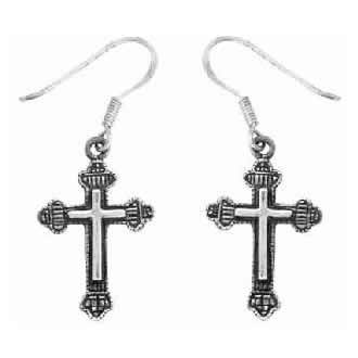 Christian Women's Sterling Silver Christian Cross with Crowns Dangle Earrings - Purity, Chastity Earrings for Girls