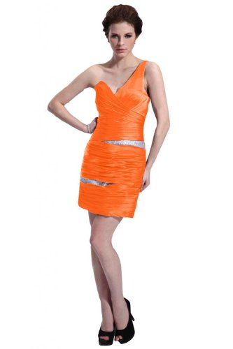 31GGssTK4 L Special Offers: Emma Y Lady Womens One Shoulder Sheath Short Dress