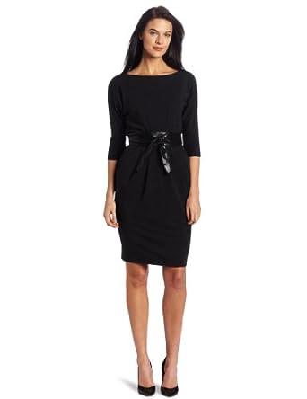 Donna Morgan Women's 3/4 Sleeve Dolman Dress, Charcoal, 2