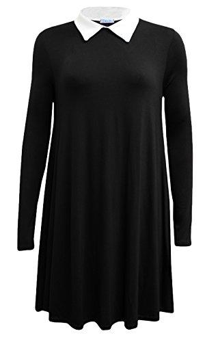 Fashion 4 Less -  Vestito  - Swing - Maniche lunghe  - Donna nero 40