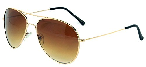 Aviator Sunglasses Gold Metal Frame with Brown Lens Stylish