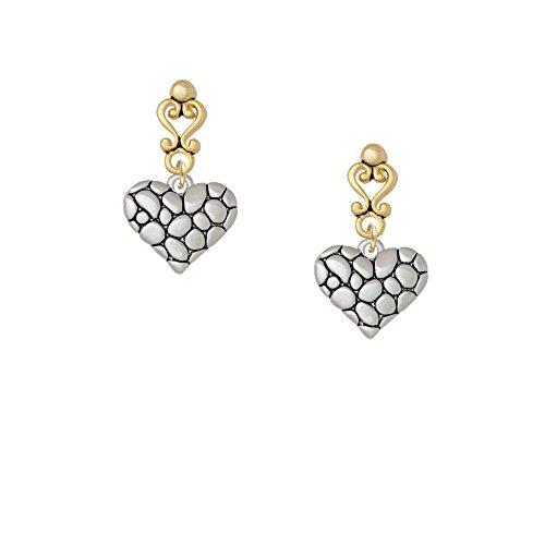 Pebble Heart Gold Tone Filigree Heart Earrings