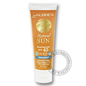 Best Cheap Deal for Aubrey Natural Sun SPF 45 Sensitive Skin Water Resistant Sunscreen Unscented -- 4 fl oz from Aubrey - Free 2 Day Shipping Available